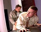 An uniformed office player screwing a new employee