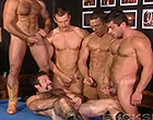 In a bar, 7 super hot gays are having the orgy