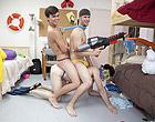 Three amateur gay boys have an orgy in the dorm