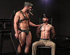 Muscle military gay studs in leather deep throat