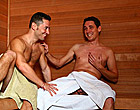 Hunky Ari and Ryan are just relaxing in the sauna