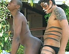 Horny latin dude fucking cute black gay guy outdoors
