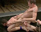 Ripped Shane Erickson fights Kyle Sparks naked in oil