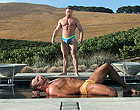 Two muscle older men ass fucking hard by the pool