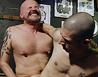 Old gay men group fucking bareback in the bar