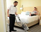 Gay cleaner fucks a horny client on the hotel room
