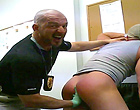 The arrested muscle dude gets abused by the cop